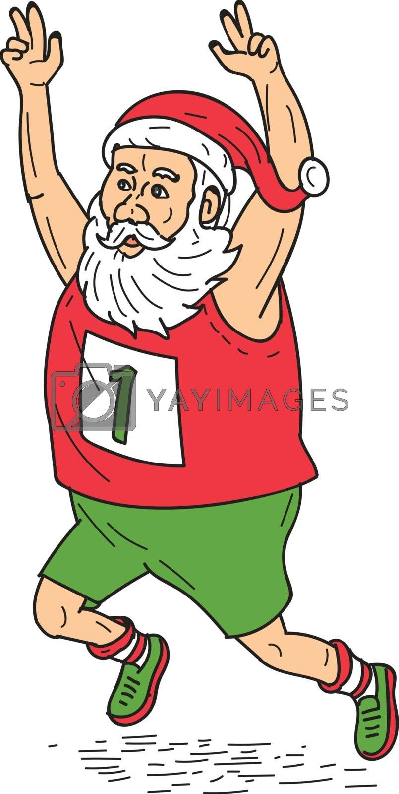 Illustration of santa claus saint nicholas father christmas running a marathon raising hands over head set on isolated white background done in cartoon style.