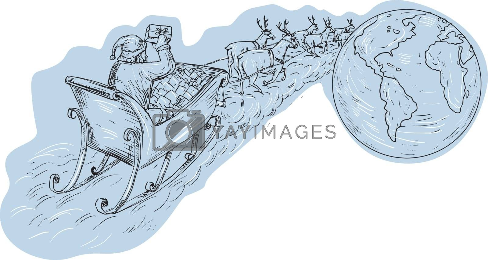 Drawing sketch style illustration of santa on a sleigh with reindeers delivering gifts aournd the world viewed from the rear.