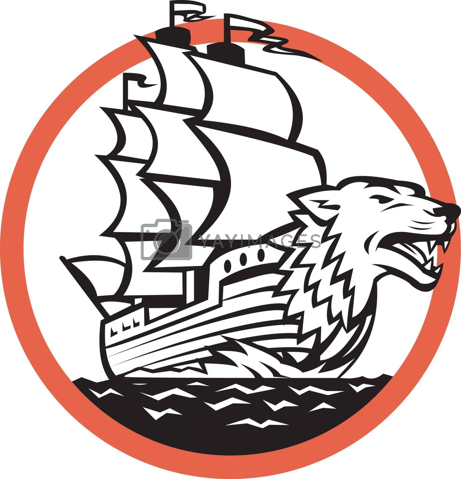 Retro style illustration of a Galleon sailing Ship with Wolf on Bow set inside circle on isolated background.
