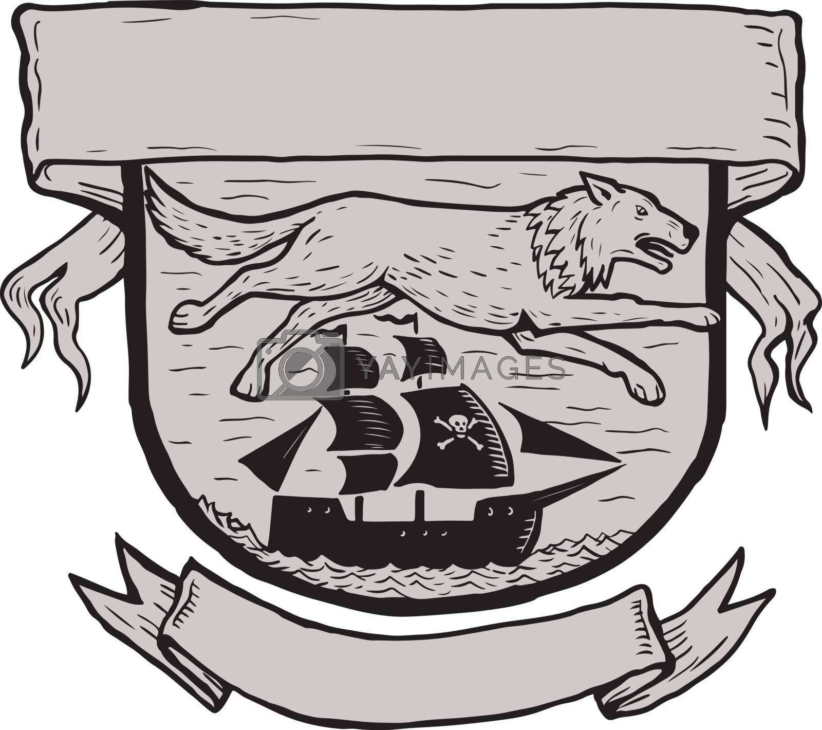 Scratchboard style illustration of a wolf running or flying over a pirate sailing ship set inside crest or shield with banner done on scraperboard on isolated background.