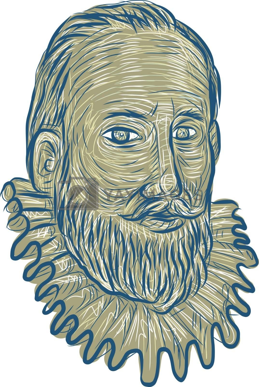 Drawing sketch style illustrationm of bust of Sir Walter Raleigh, an English landed gentleman, writer, poet, soldier, politician, courtier, spy and explorer bust viewed from front set on isolated white background.