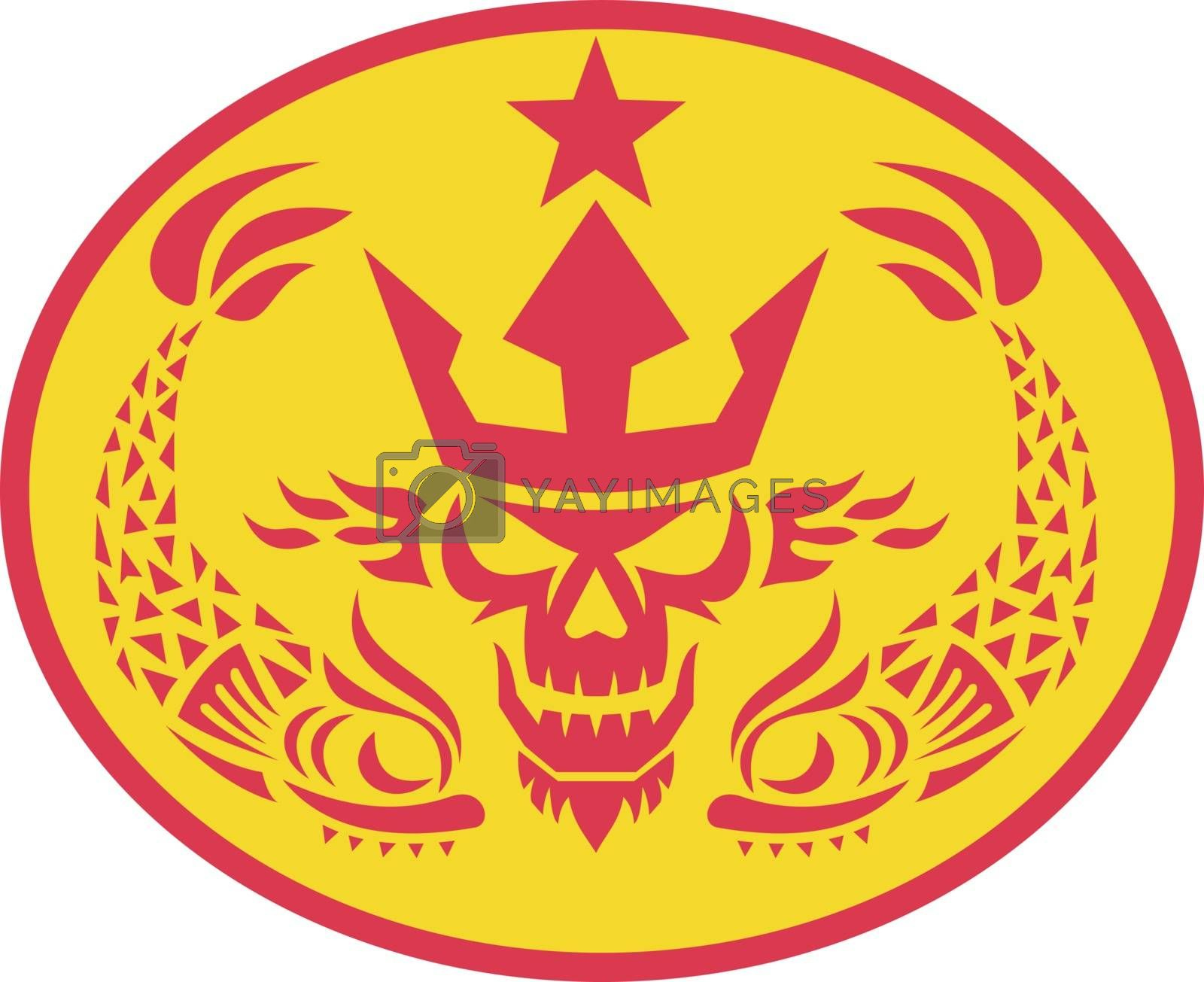 Retro style illustration of head of Neptune Skull wearing a trident crown with two Fish on side and star set inside Oval on isolated background.