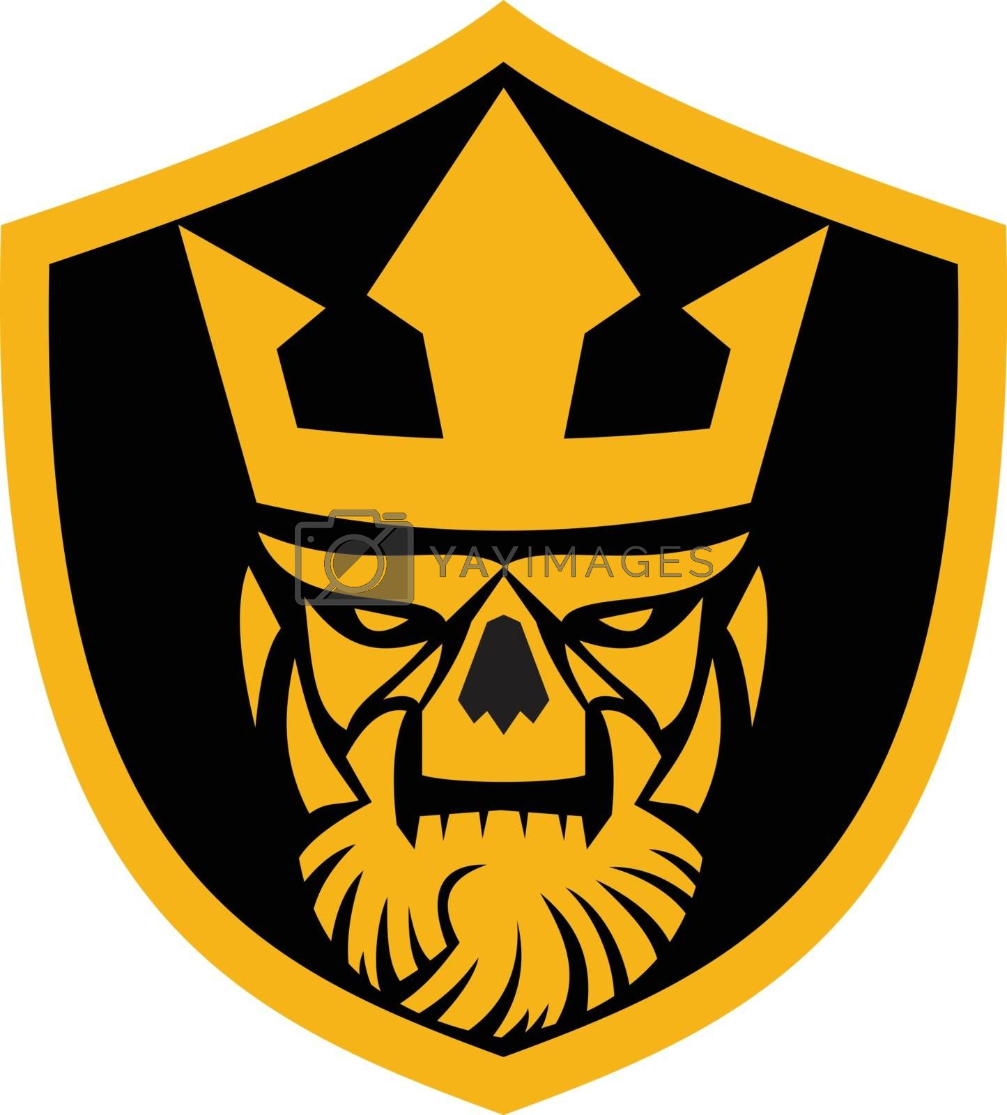 Icon style illustration of skull of Neptune viewed from front set inside crest shield on isolated background.