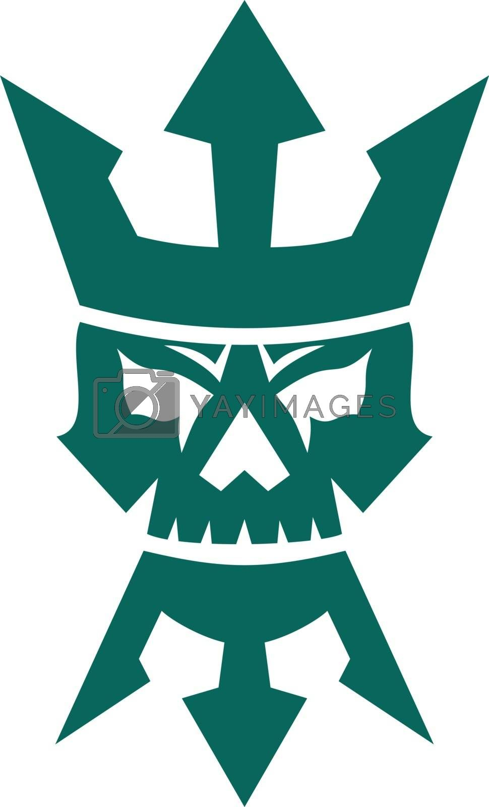 Icon style illustration of a Neptune Skull wearing Trident shape Beard and Crown  on isolated background.
