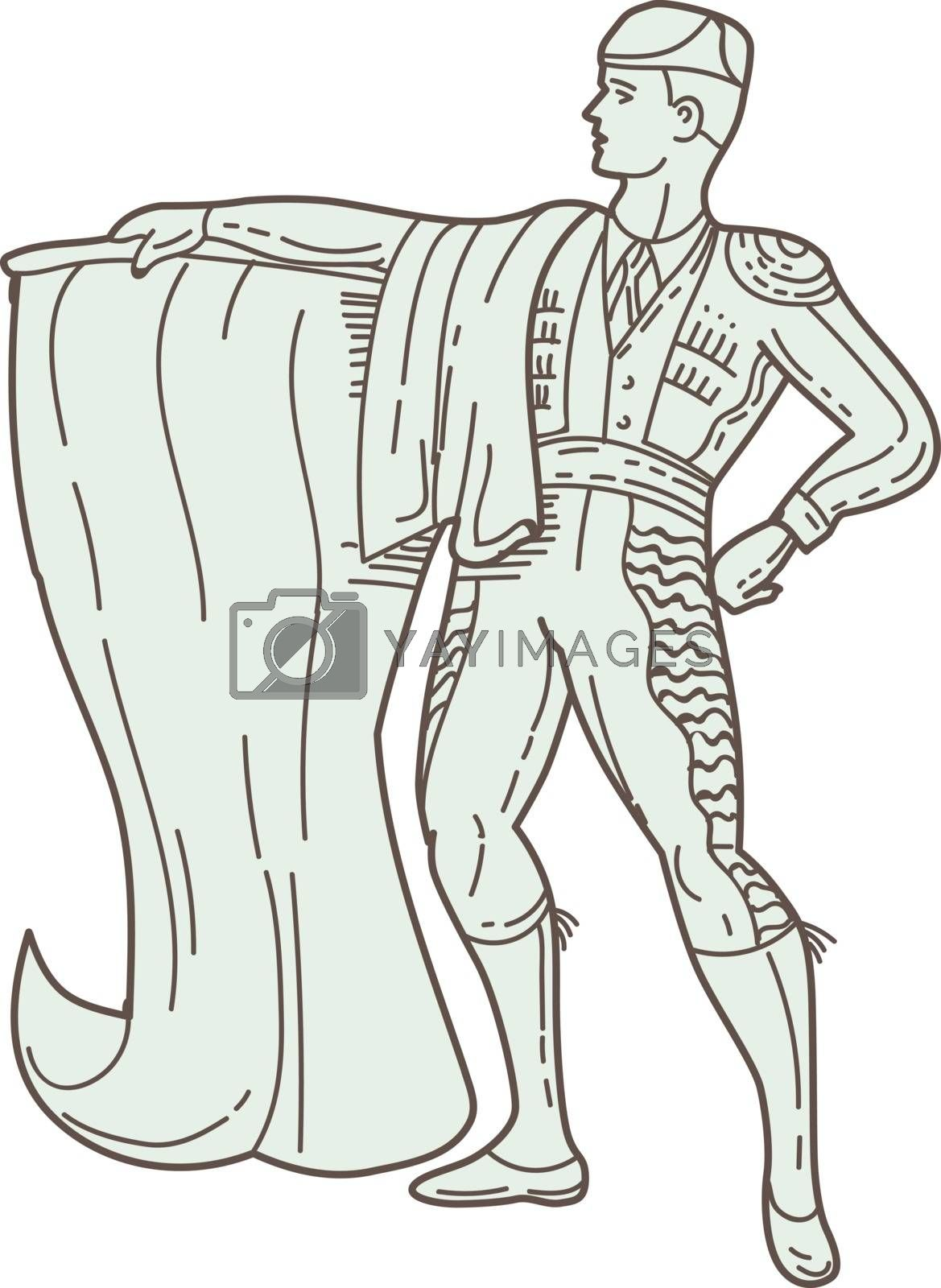 Mono line style illustration of a spanish matador holding cape looking to the side viewed from front set on isolated white background.