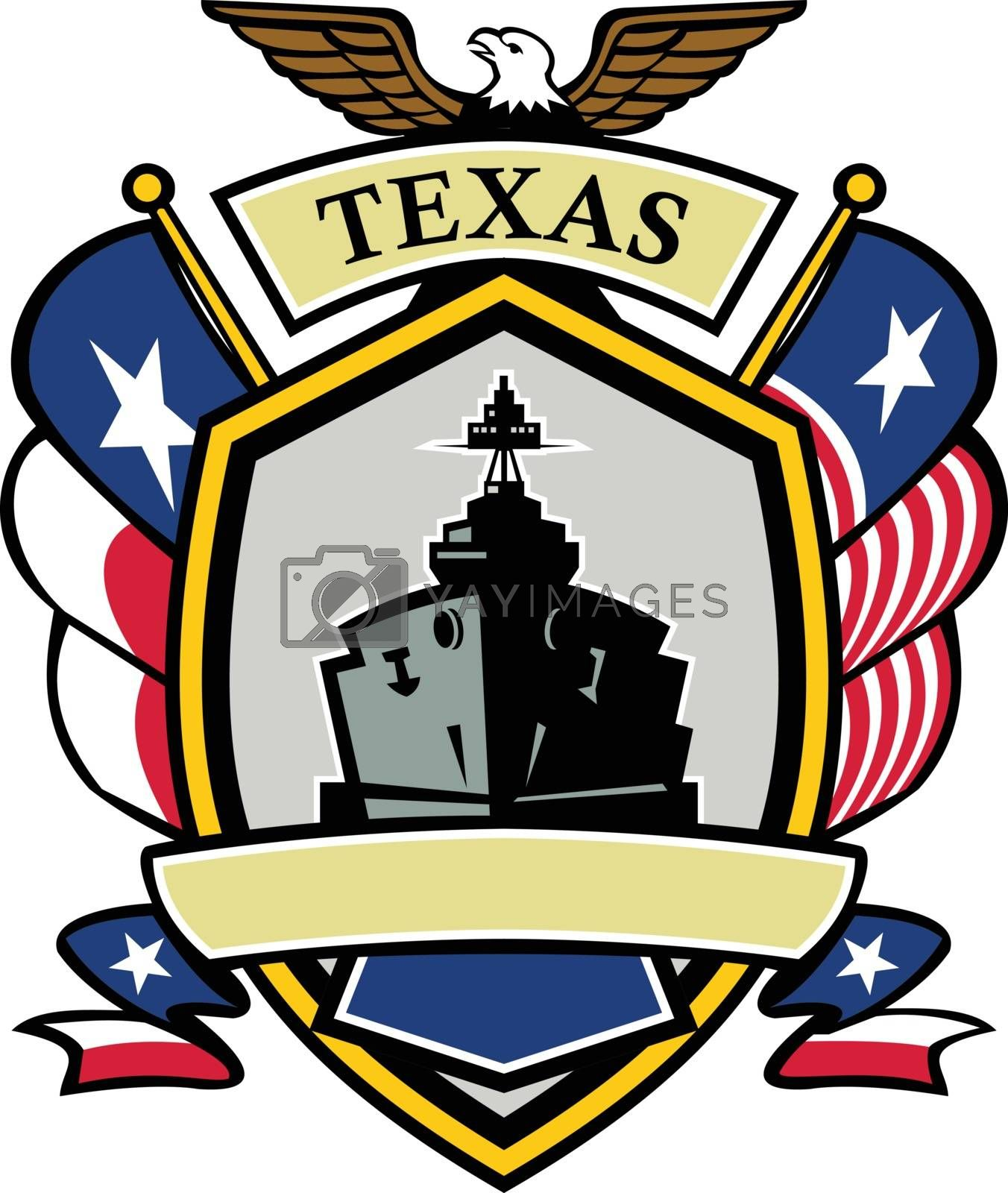Icon style illustration of a Texas Navy Battleship with Texas Lone Star and Navy Flag on side and American Eagle up top set inside shield crest shape.