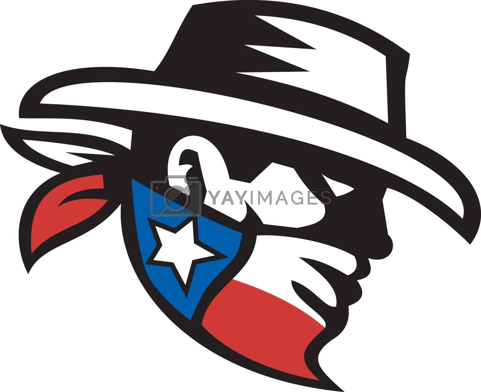 Retro style illustration of a masked Texas Bandit Cowboy head wearing a bandana mask with texas Lone Star State flag on isolate background.