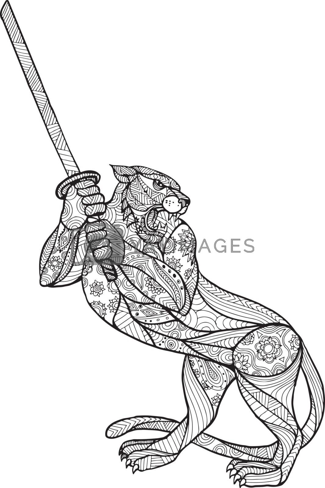 Mandala style illustration of a tiger brandishing katana sword in fighting stance on isolated backgound done in black and white.