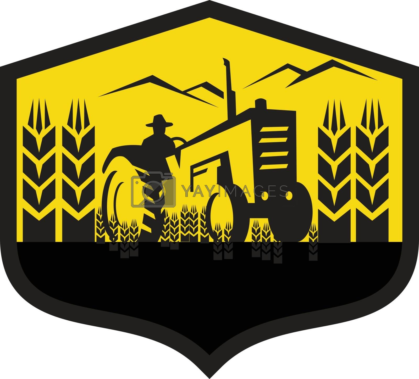 Illustration of a farmer driving tractor harvesting wheat in farm viewed from front set inside shield crest done in retro style.