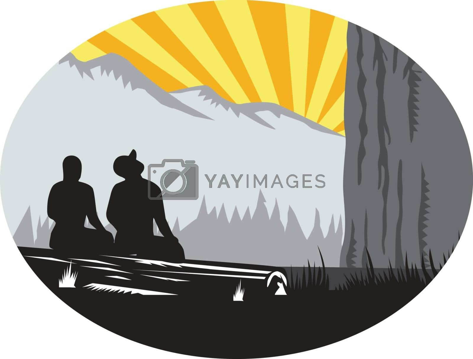 Illustration of  two trampers campers sitting on a log, one female and one male looking up to the mountain set inside oval shape with sunburst in the background done in retro woodcut style.