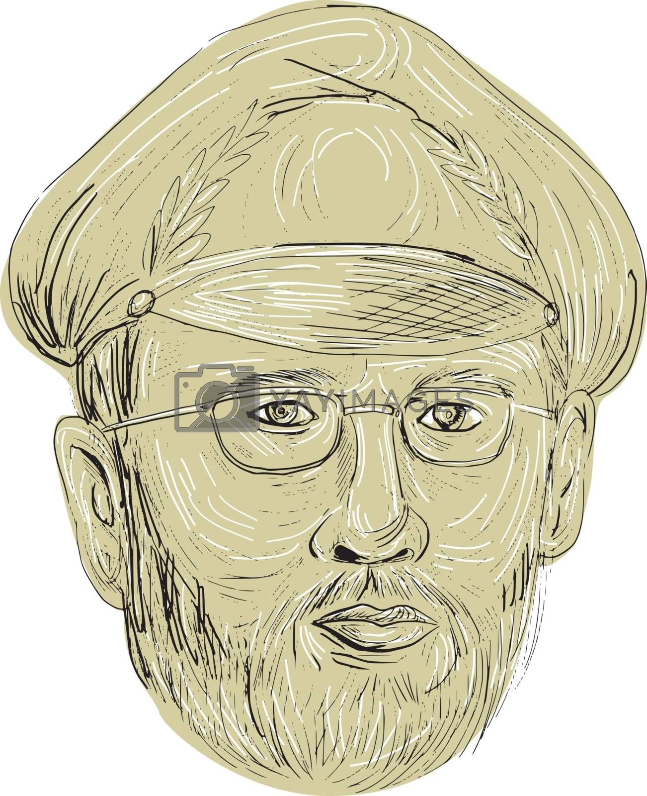 Drawing sketch style illustration of a Turkish general head wearing glasses and cap viewed from the front set on isolated white background.