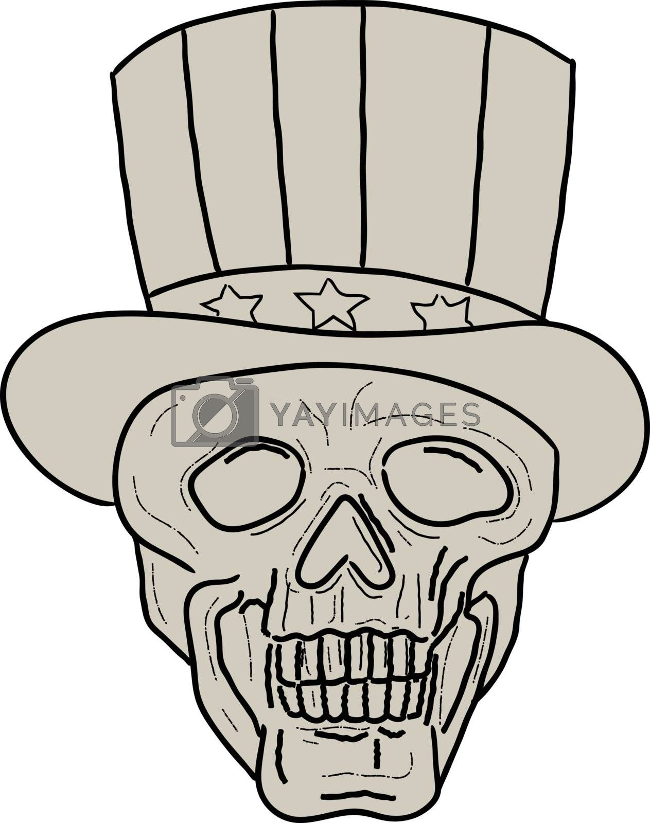 Drawing sketch style illustration of a skull of uncle sam wearing top hat viewed from front set on isolated white background.