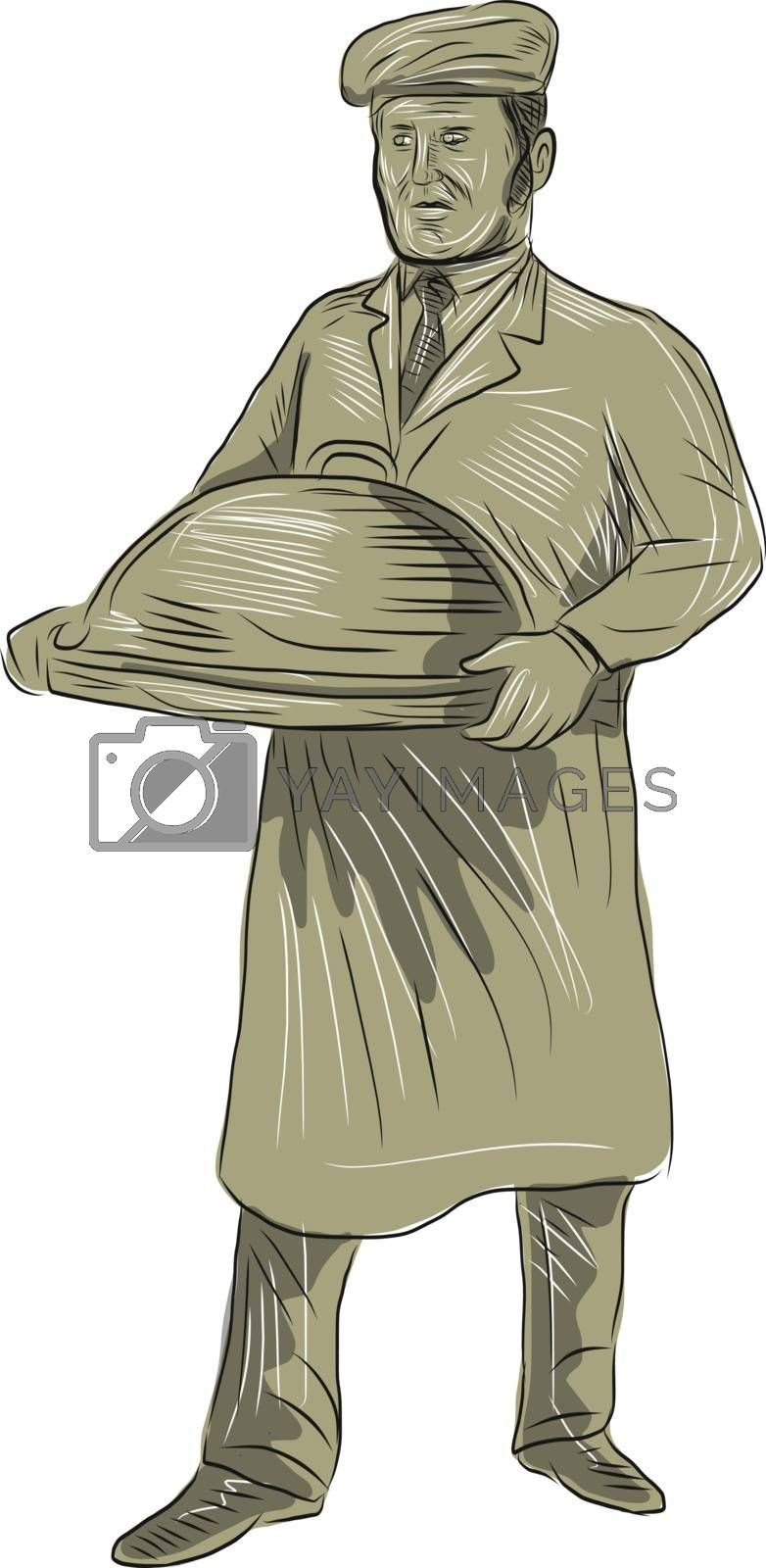 Drawing sketch style of a Victorian waiter holding serving food in a platter set on isolated white background.