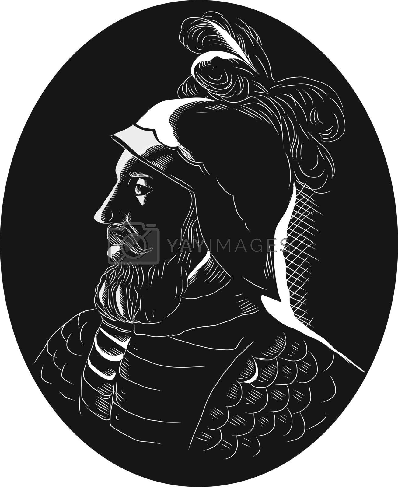 Illustration of Vasco Nunez de Balboa, Spanish explorer, governor, and conquistador who crossed the Isthmus of Panama to the Pacific Ocean in 1513 and the first European reach the Pacific from the New World viewed from the side set inside oval shape done in retro woodcut style.