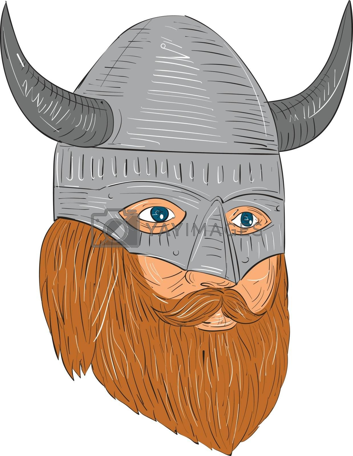 Drawing sketch style illustration of a norseman viking warrior raider barbarian head with beard wearing horned helmet looking slightly to the side set on isolated white background.