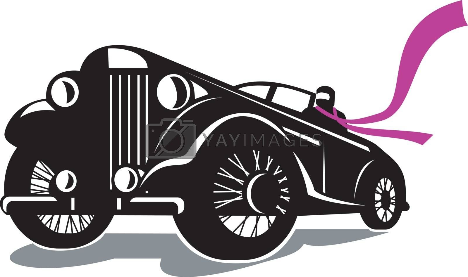 Retro style illustration of a vintage roadster, coupe classic automobile with top down and driver with flowing scarf viewed from a low angle on isolated background.