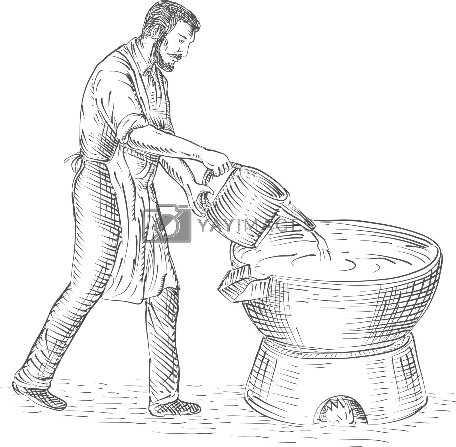 Drawing sketch style illustration of a 19th century vintage candlemaker or chandler pouring candle wax making candles on foundry viewed from side isolated background.