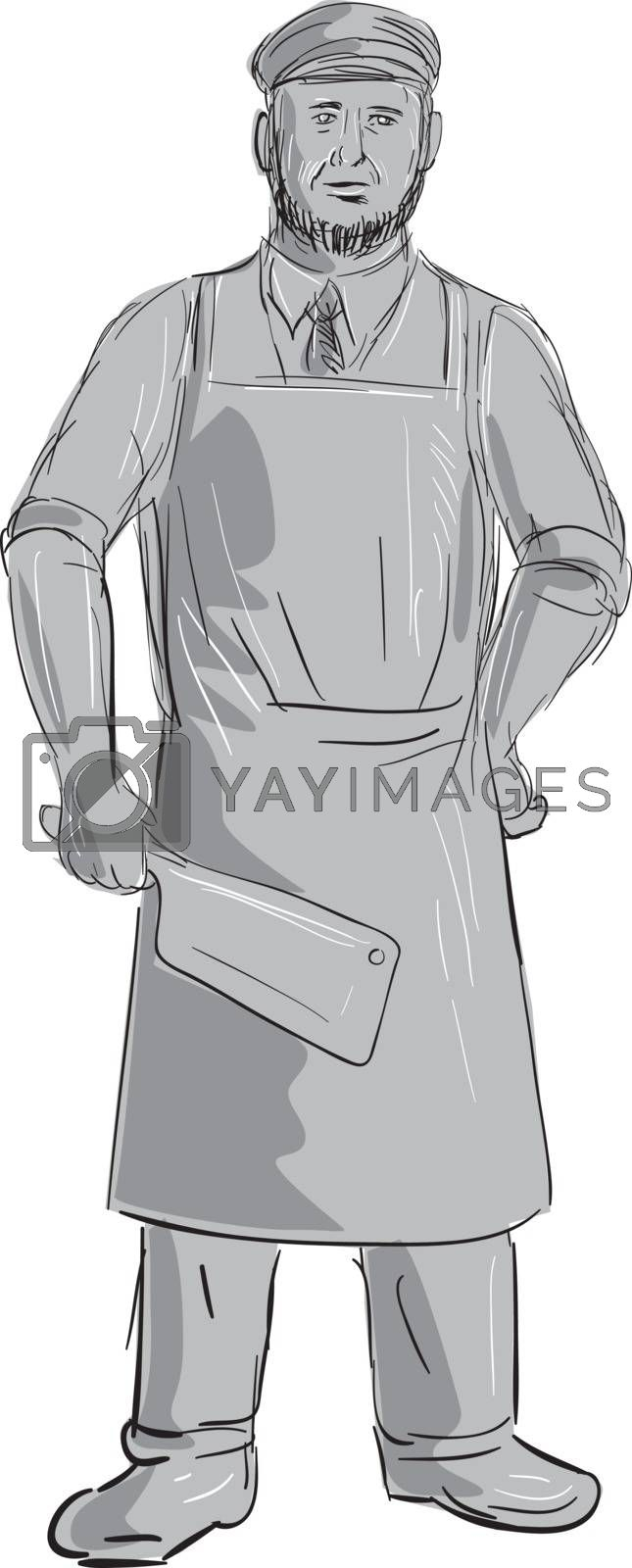 Illustration of a Vintage Butcher holding Meat Cleaver knife Standing front view done in hand sketch Drawing style.