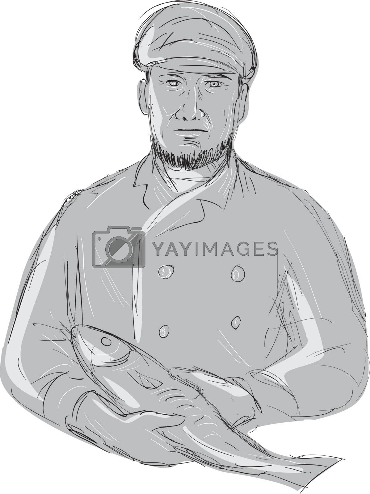 Illustration of a Vintage Fishmonger wearing cap Holding Fish front view done in hand sketch Drawing style.