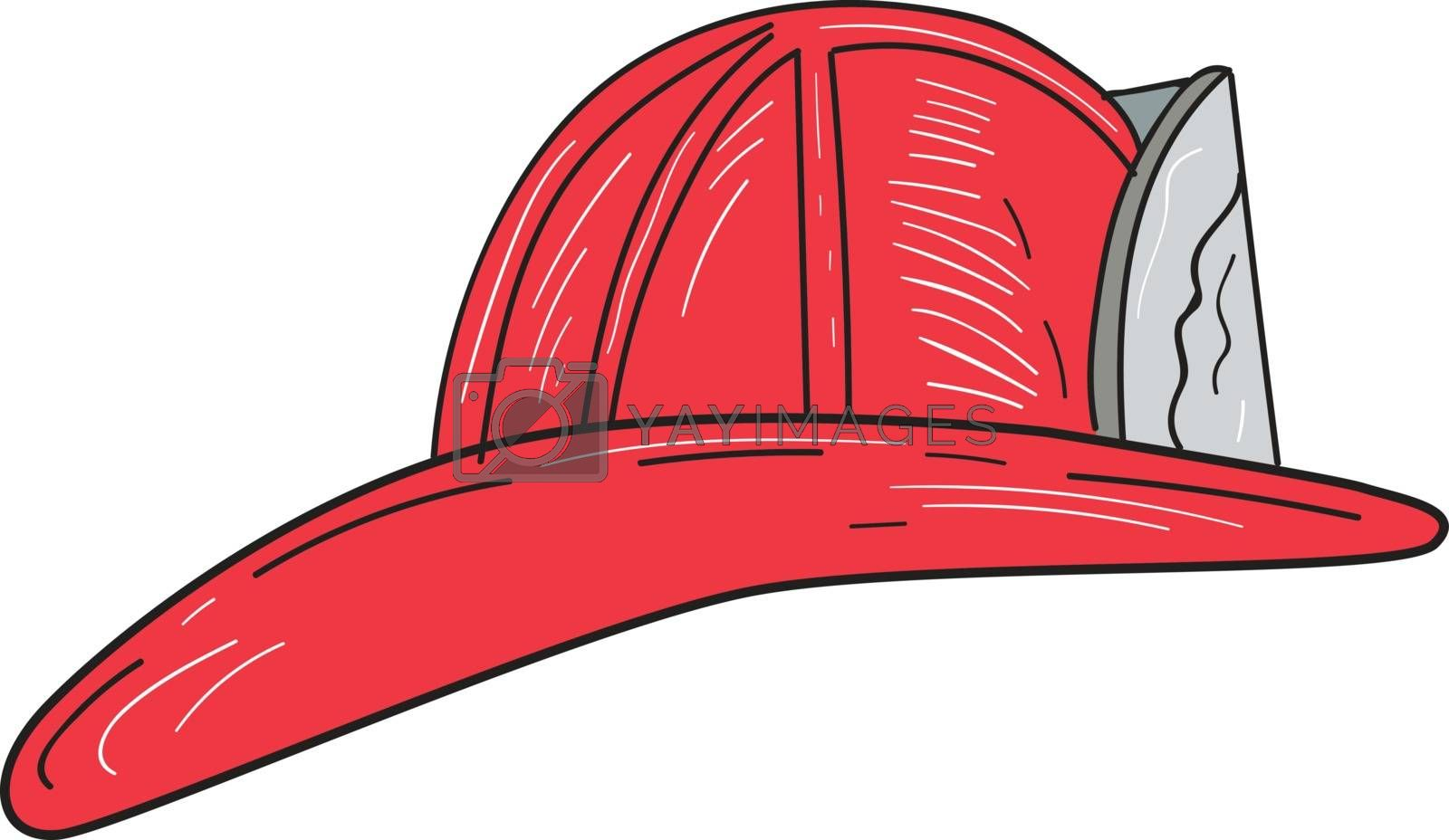 Drawing sketch style of a vintage fireman fire fighter helmet viewed from the side set on isolated white background.