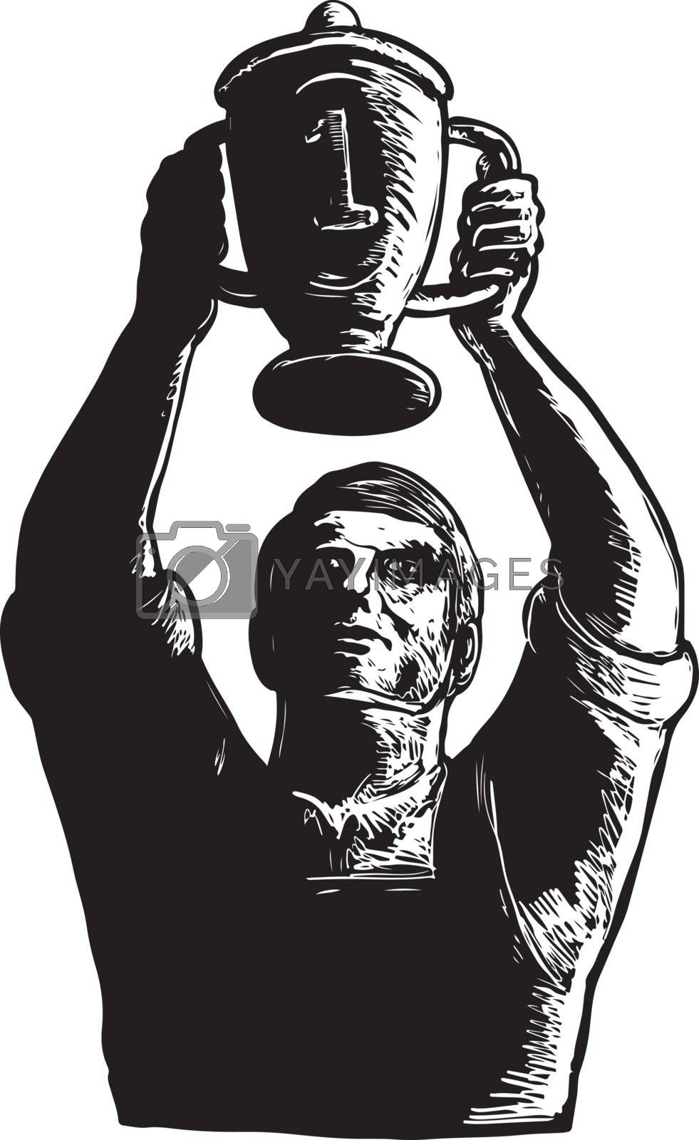 Scratchboard style illustration of a Champion Worker winning Lifting Championship trophy Cup viewed from front done on scraperboard on isolated background.