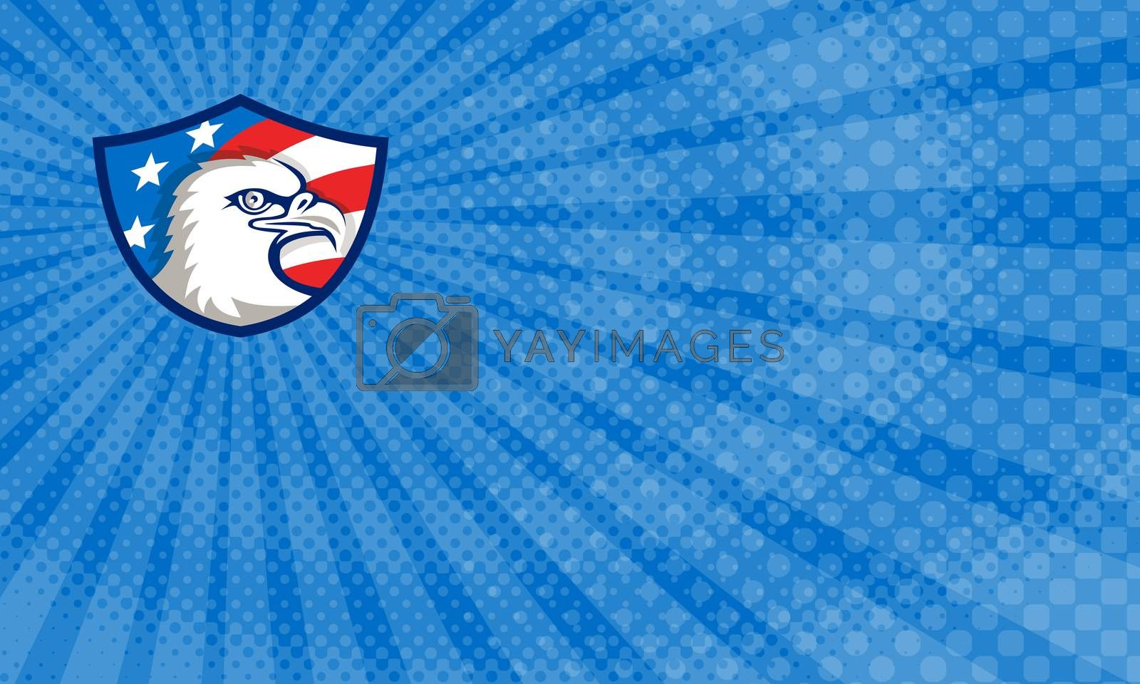 Business card showing Illustration of an american bald eagle head viewed from the side with usa american stars and stripes flag in the background set inside shield crest done in retro style.