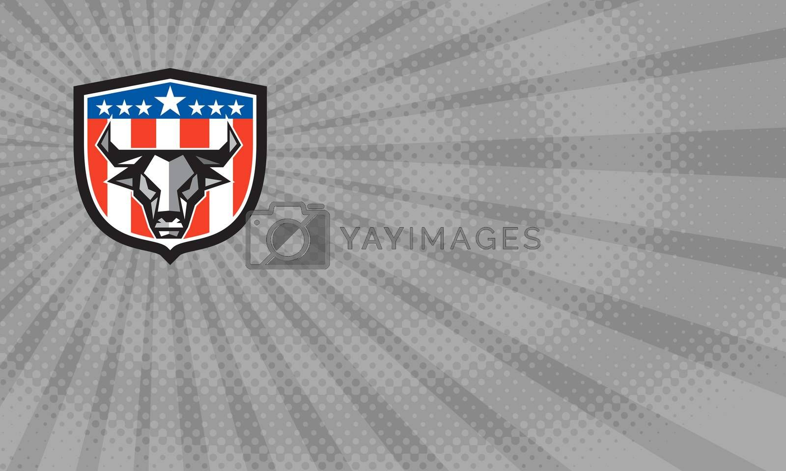 Business card showing Low polygon style illustration of a bull cow head facing front set inside shield crest with usa american stars and stripes flag in the background.