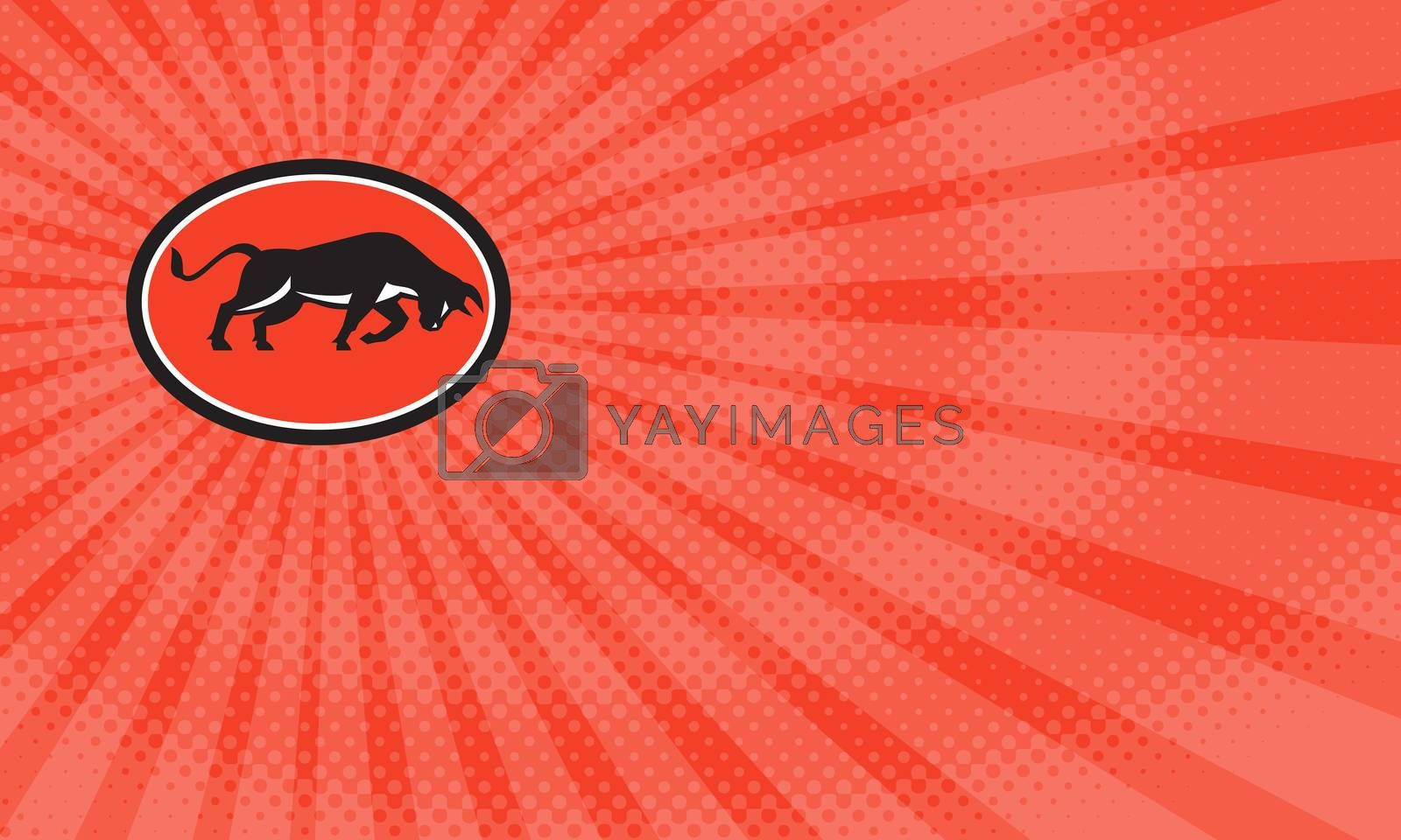 Business card showing Illustration of a bull attacking charging viewed from the side set inside oval shape done in retro style.     ,sunburst,half-tone dots, halftone