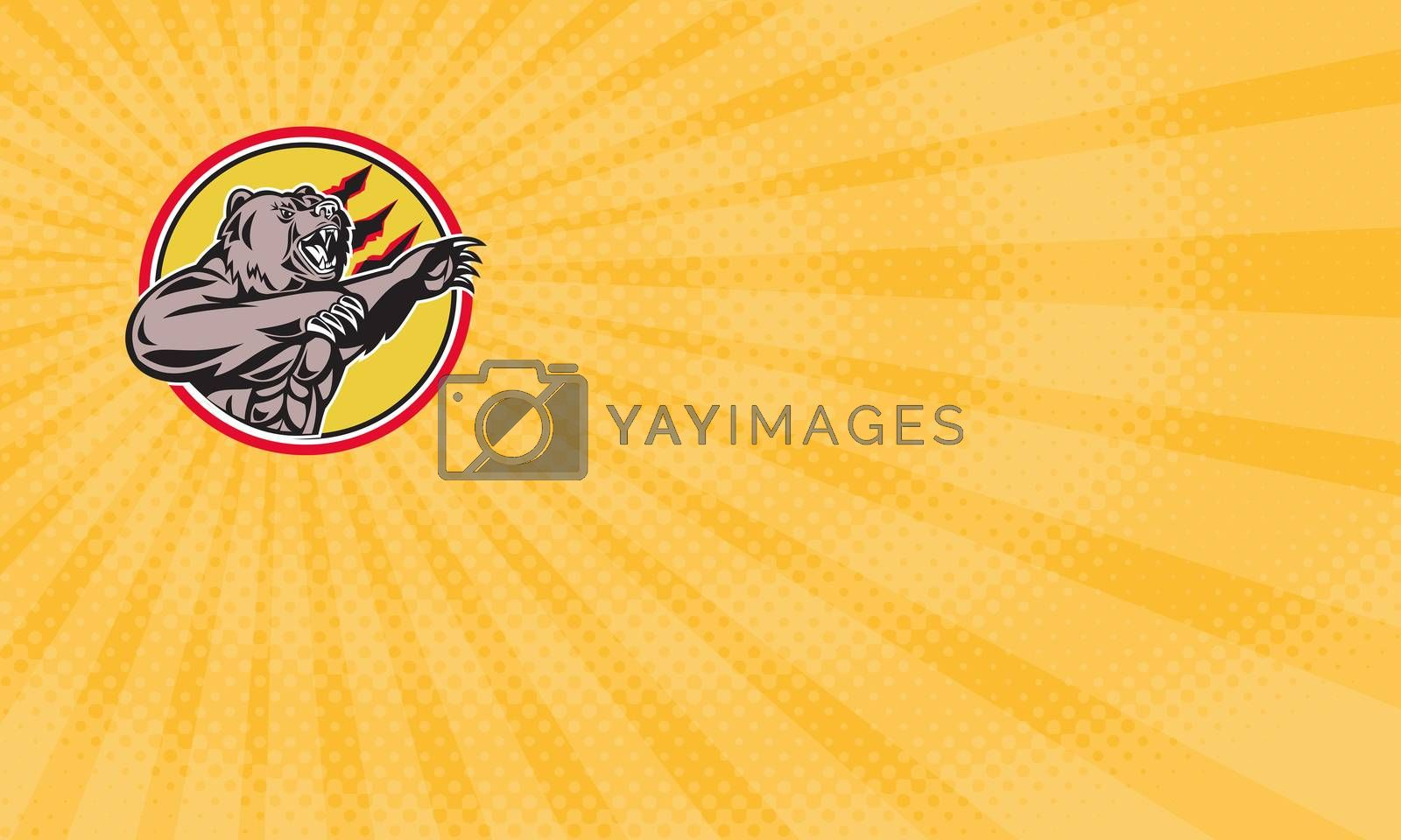Business card showing Illustration of a angry California grizzly North American brown bear swiping his paw attacking done in retro style set inside circle.