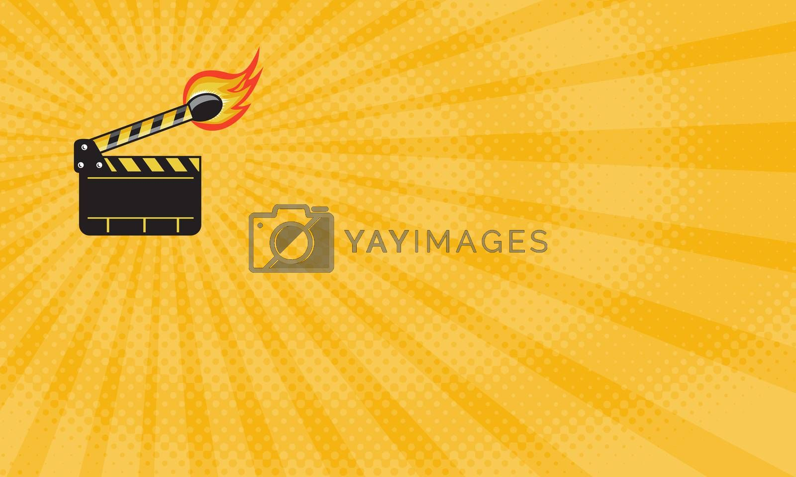 Business card showing Illustration of a clapper board match stick on fire set done in retro style.