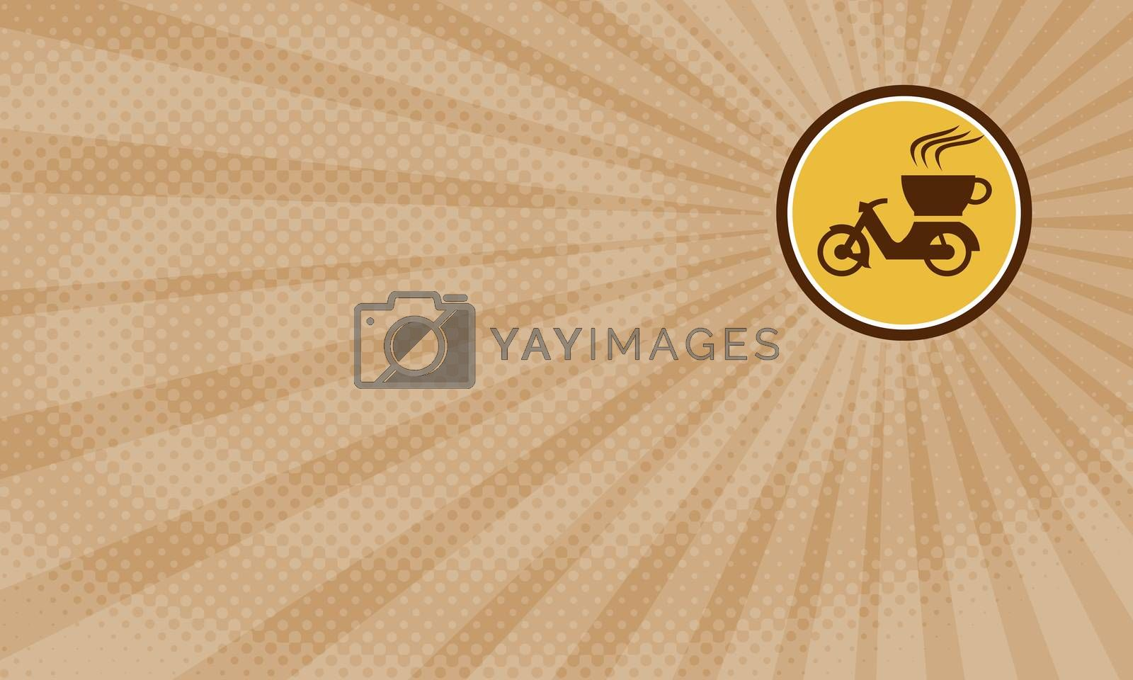 Business card showing Illustration of a motorcycle motorbike with cup coffee delivery viewed from the side set inside circle done in retro style.
