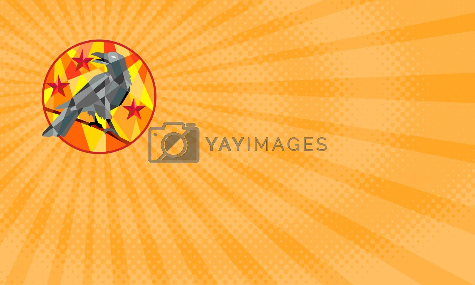 Business card showing Low polygon style illustration of a crow bird perched on a piece of wood looking back set inside circle with stars in the background.
