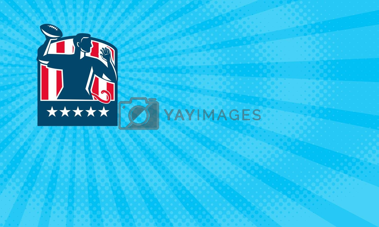 Business card showing Illustration of a flag football player QB passing ball viewed from the side set inside shield crest with usa american stars and stripes flag in the background done in retro style.