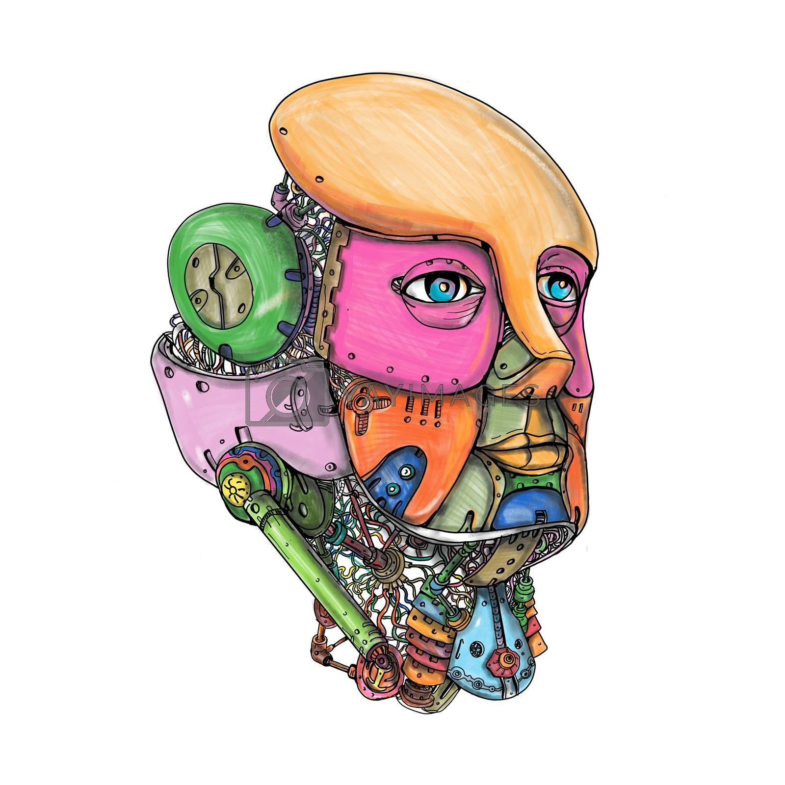 Tattoo style illustration of a female humanoid android robot AI Artificial Intelligence head looking forward on isolated background.