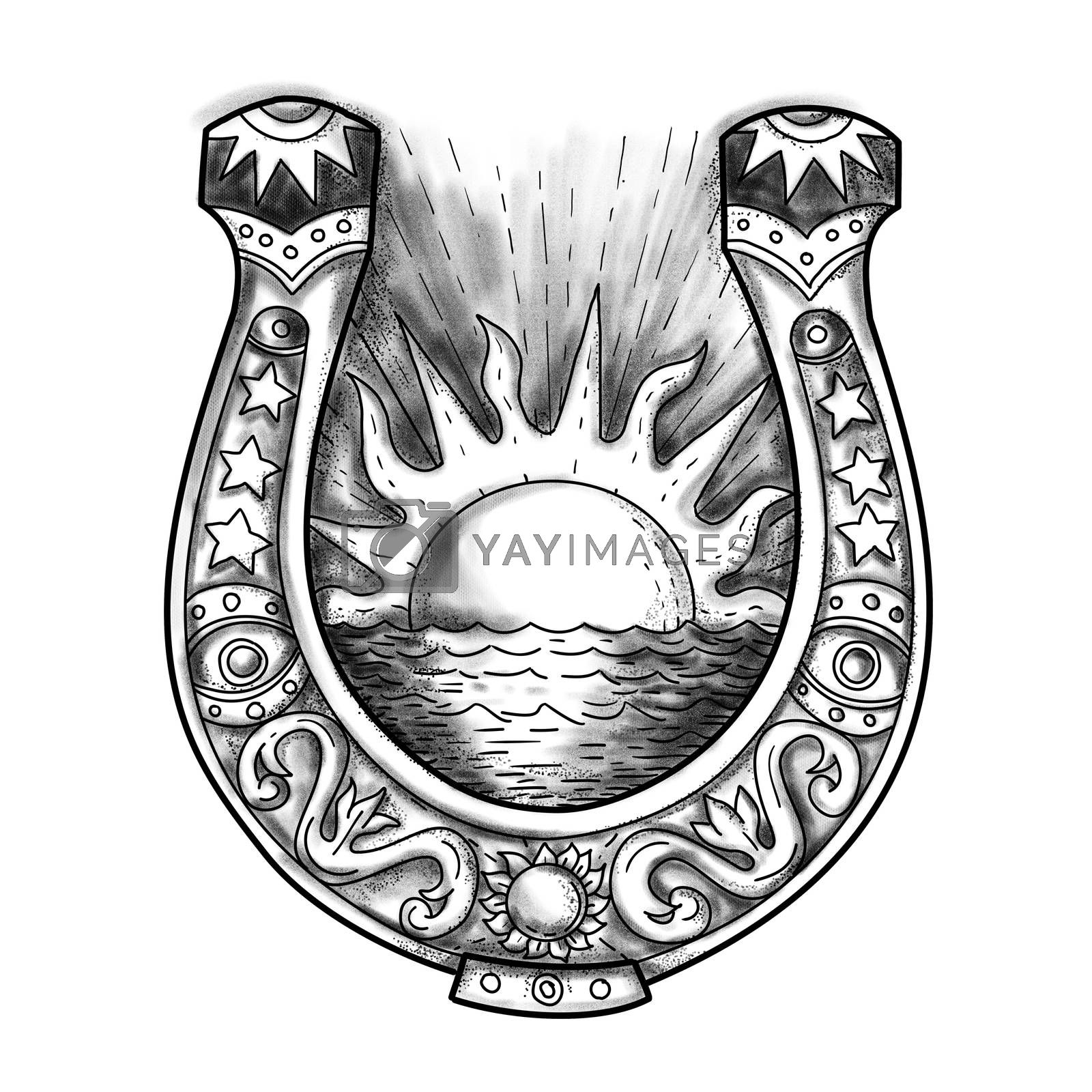 Tattoo style illustration of am embellished and decorative horseshoe with shining sun and sea in the middle on isolated background.