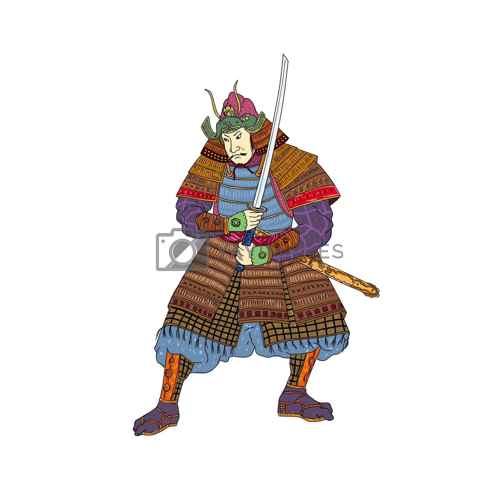 Vintage Woodblock style illustration of a Japanese samurai warrior wearing kabuto helmet with katana sword in fighting stance on isolated background.