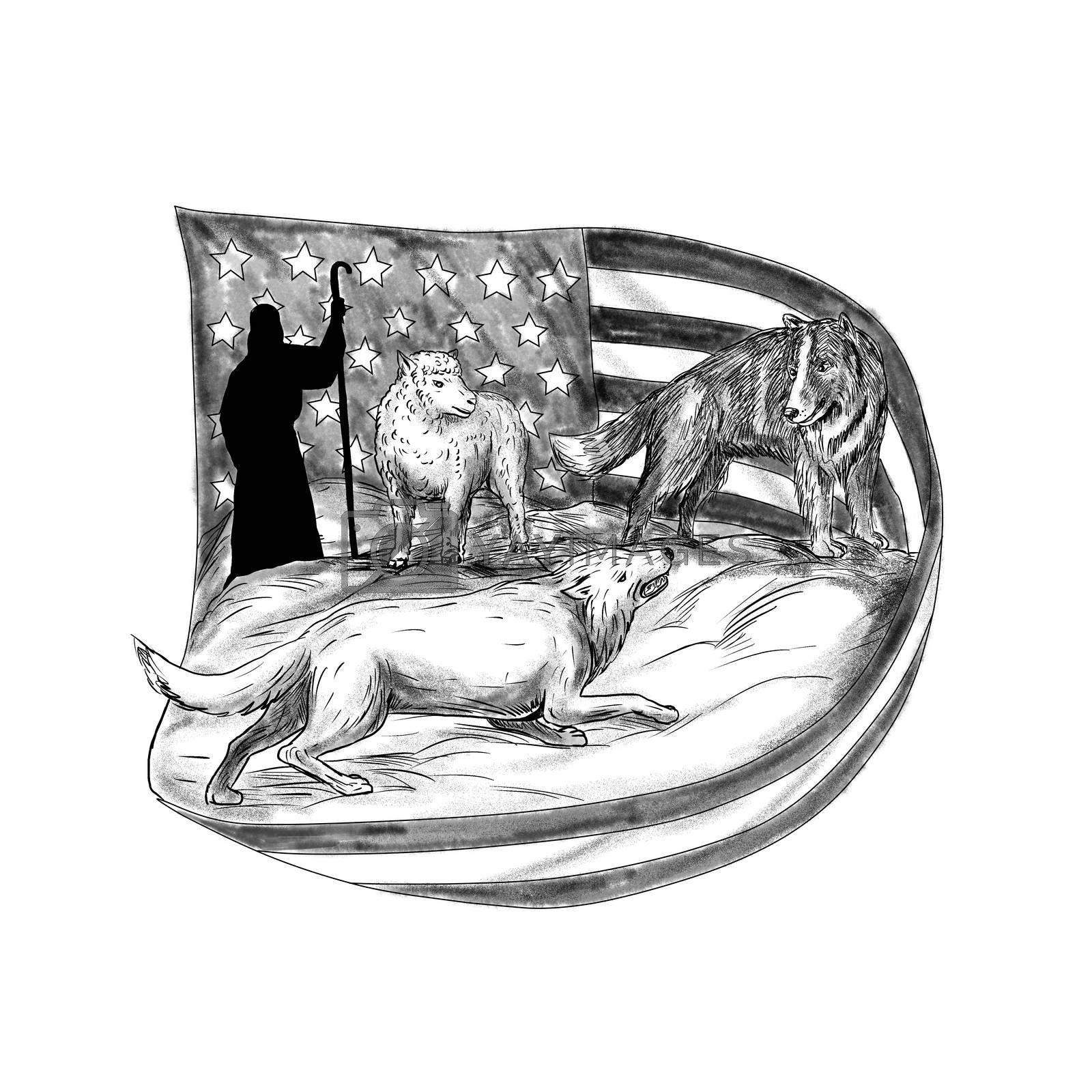 Tattoo style illustration of a sheepdog or herding dog protecting a lamb from a wolf with shepherd in background and USA stars and stripes American flag.