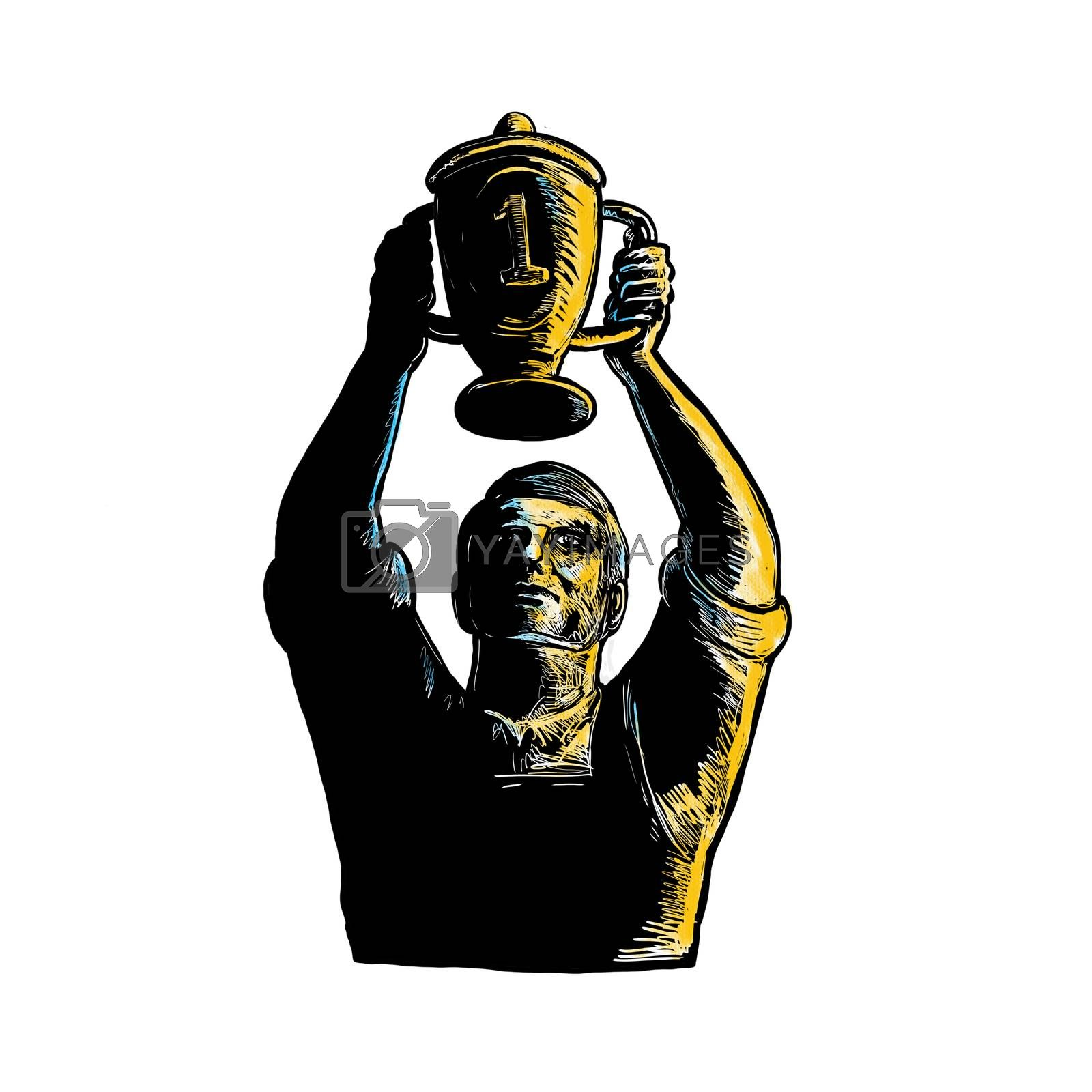 Woodcut style illustration of a worker winning and raising up championship trophy cup viewed from front on isolated background.