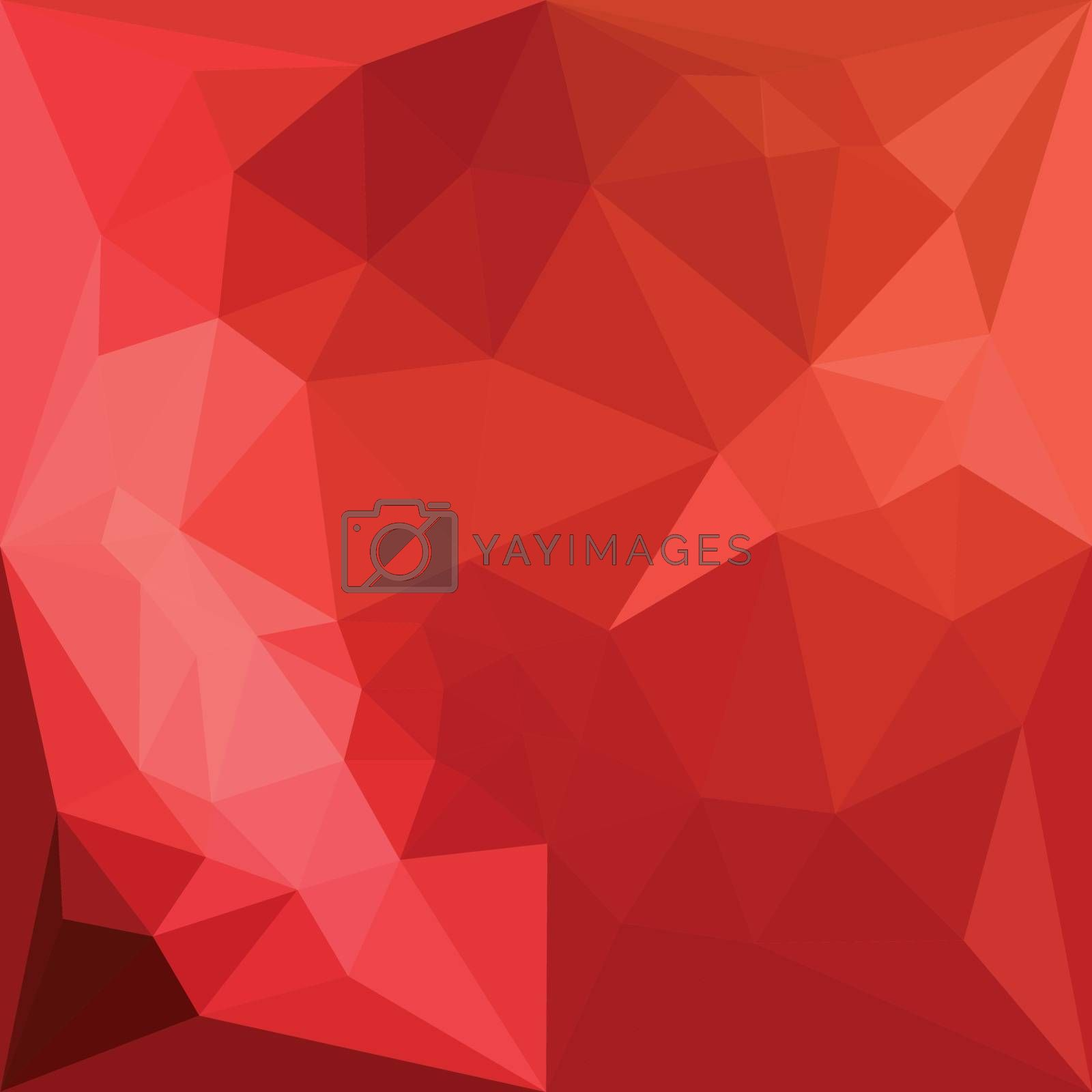 Low polygon style illustration of a tomato red abstract geometric background.