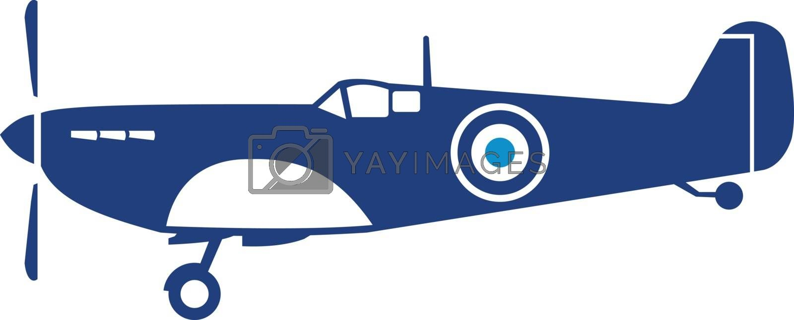 Illustration of a world war two fighter airplane spitfire viewed from the side set on isolated white background done in retro style.