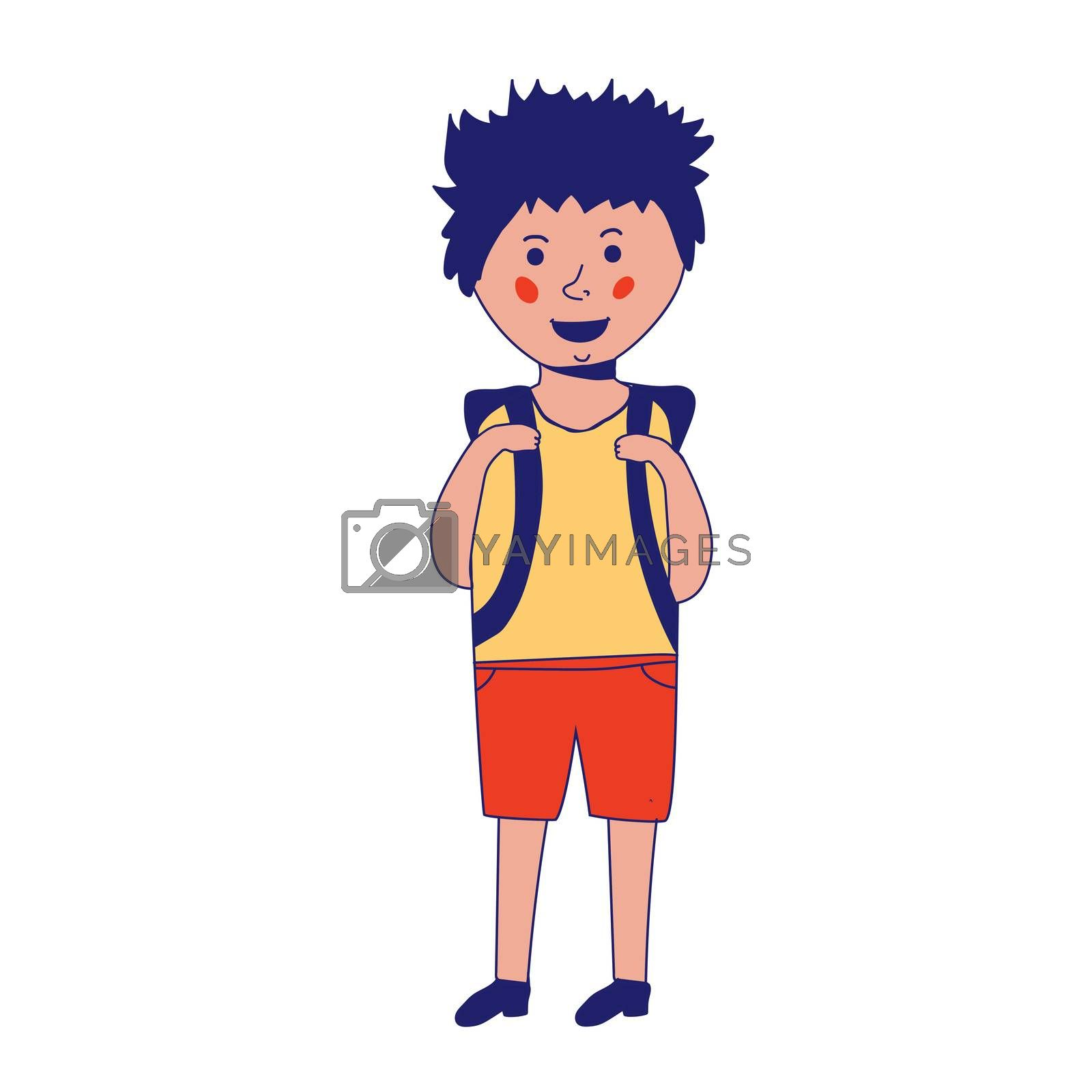 Happy caucasian schoolboy holding a book and waving his hand. Full length of smiling schoolboy making greeting gesture - waving hand. sketch cartoon illustration isolated on white background