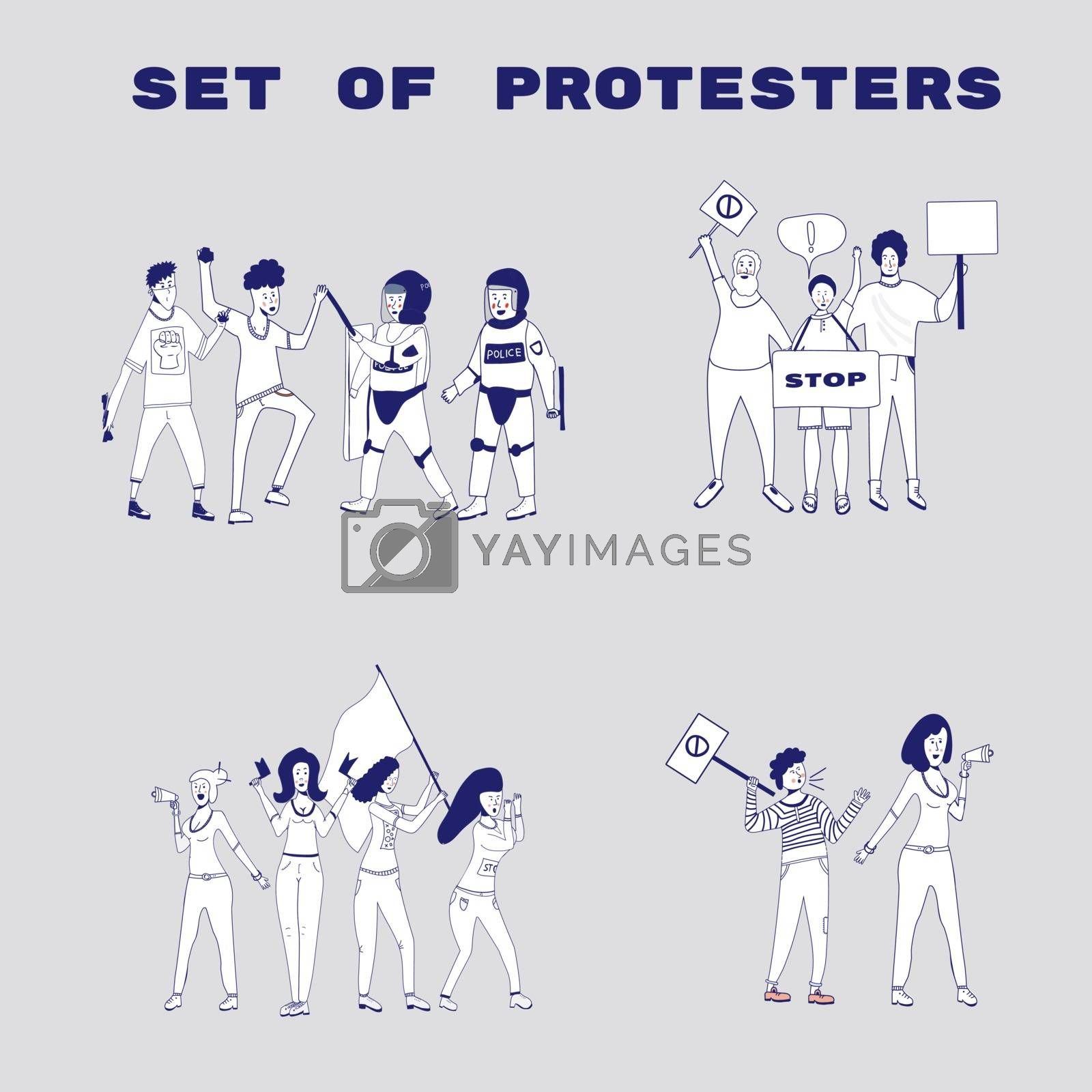 Big set of protesting people holding banners and placards. Men and women characters on political meeting, parade or rally. Group of male and female protesters or activists. . Vector cartoon line illustration.