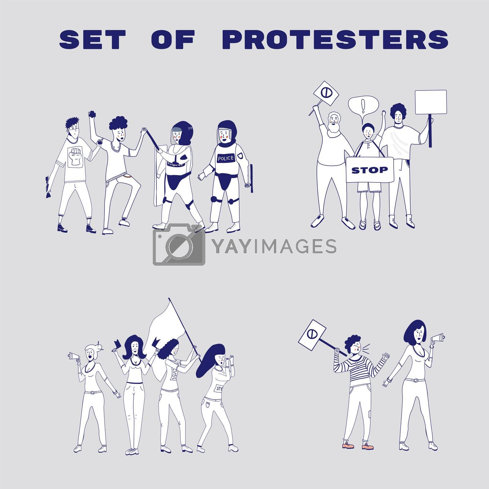 Big set of protesting people holding banners and placards. Men and women characters on political meeting, parade or rally. Group of male and female protesters or activists. . cartoon line illustration.