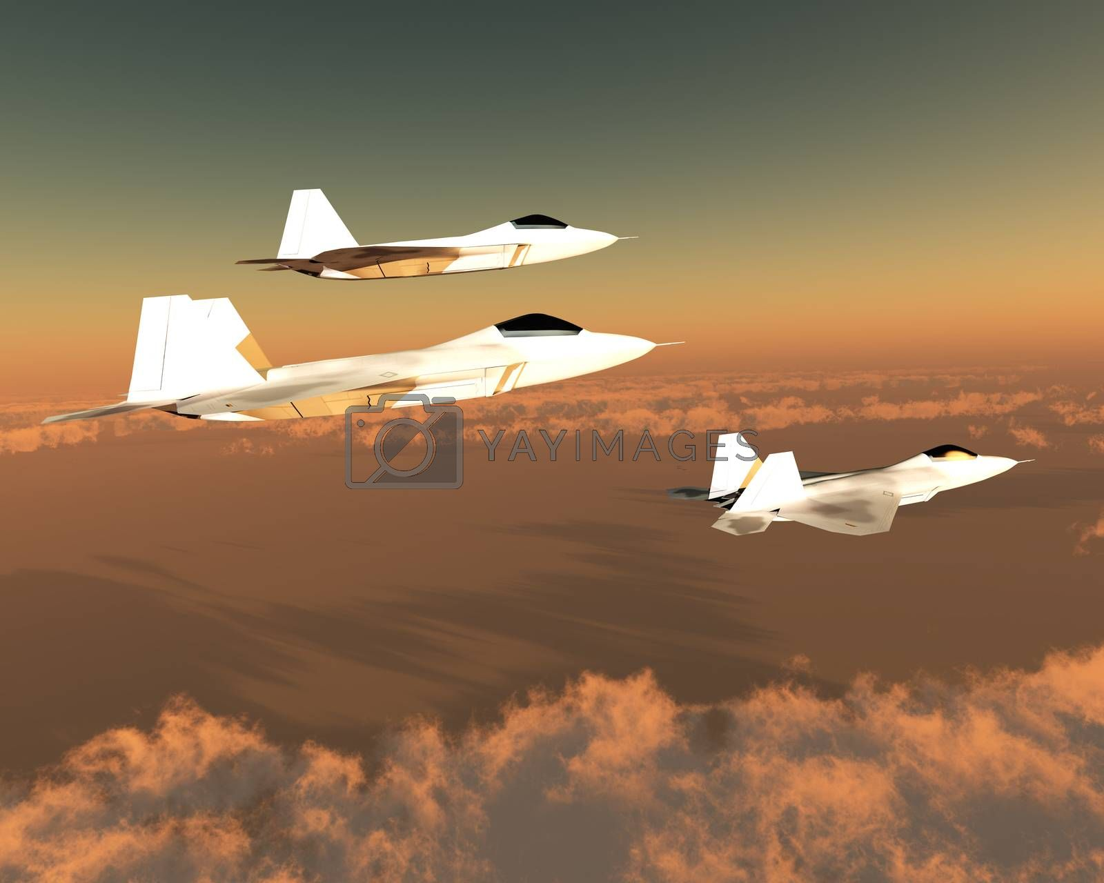 Three F-22 fighter jets with supersonic twin-engines cruise over the cloud layer on their mission.