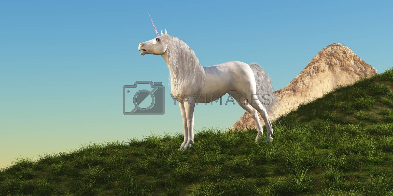 A magical white Unicorn stallion stands majestically on a hilltop gathering his herd to follow him.