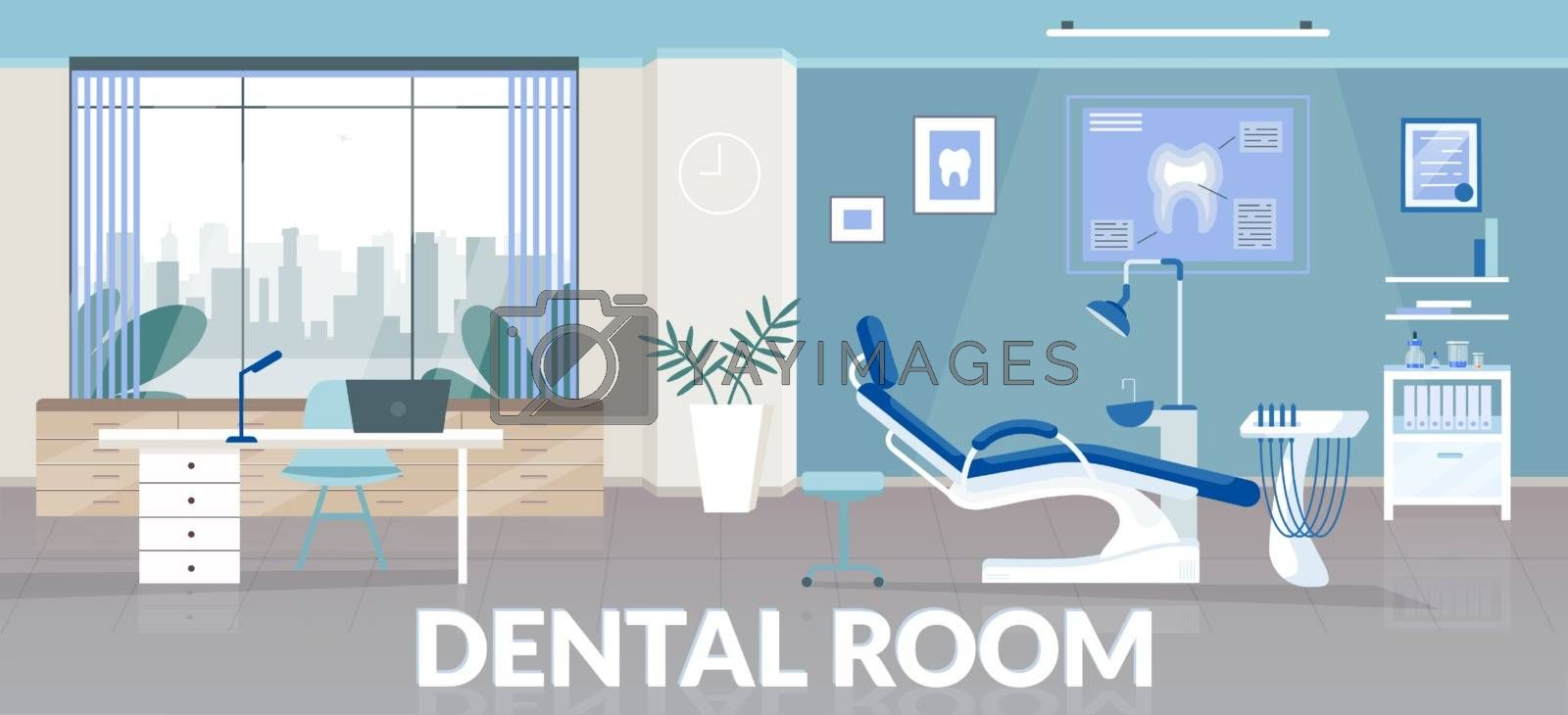 Dental room banner flat vector template. Stomatological clinic brochure, booklet one page concept design with cartoon illustrations. Odontology office, professional teeth treatment flyer, leaflet