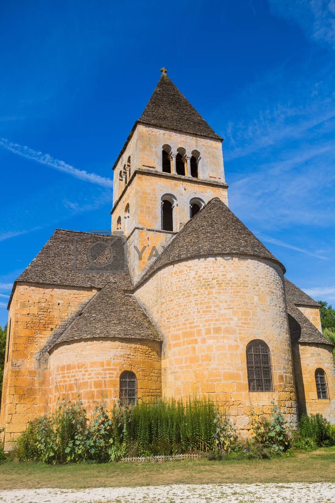 The Romanesque church (XIIth century), classified as a historical monument in Saint-Leon-sur-Vezere, Dordogne, France