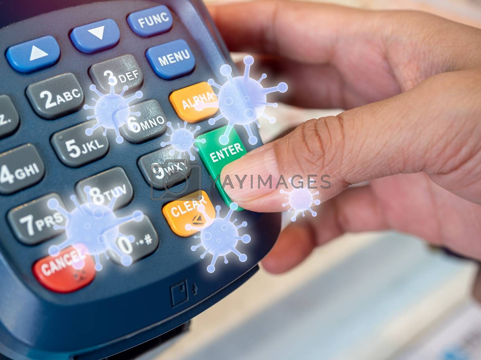 Finger pressing on enter button of card swipe machine with grow virus floating around. Virus infection spread disease concept.