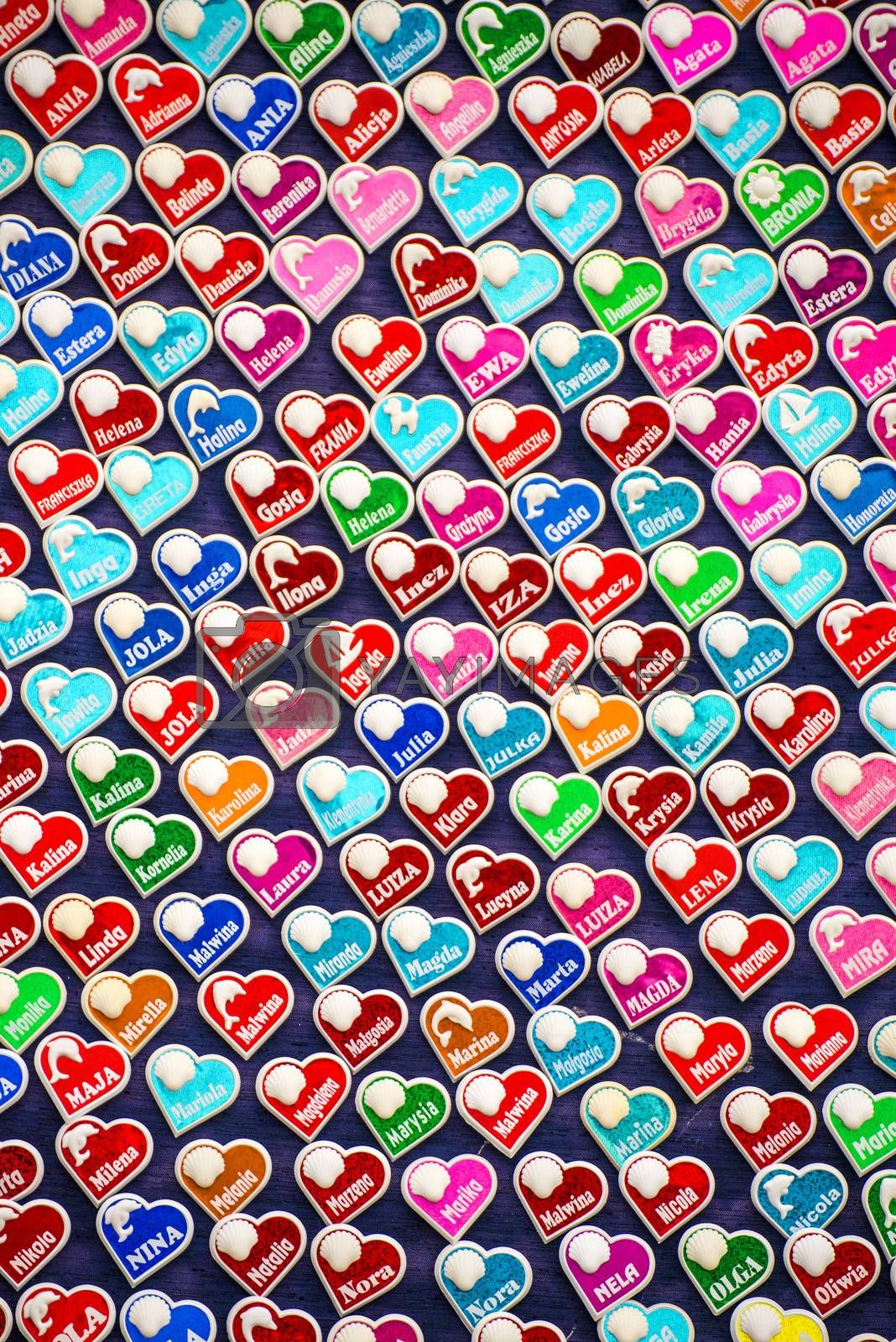 Hearts, stickers with names on a street sale
