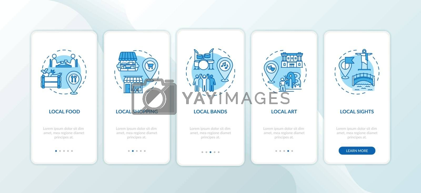 Local tourism elements onboarding mobile app page screen with concepts. Local food and local shopping. Walkthrough 5 steps graphic instructions. UI vector template with RGB color illustrations